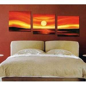 Art Oil Painting Stretched Ready to Hang 3 Piece Sunset Everything