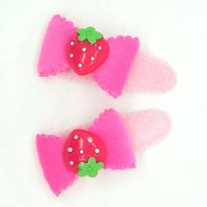 Baby/ Toddler /Girl Bow Shaped with Tiny Strawberry Hair Clip (4095 1