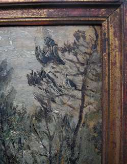 OIL PAINTING JEAN CAPEYRON 1850 FOREST FULL MOON ANTIQUE FRENCH