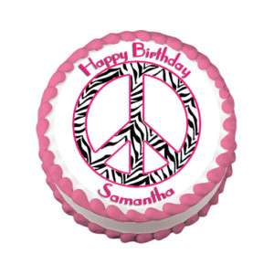 PINK ZEBRA PEACE Edible Cake Image Party Decoration