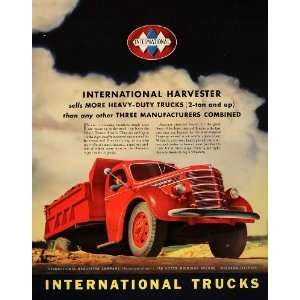 1939 Ad International Harvester Company Red Dump Truck