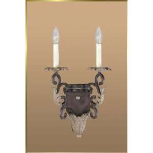 Wrought Iron Wall Sconce, JB 7167, 2 lights, Crackled Bronze, 11 wide