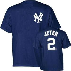 Jeter (New York Yankees) Name and Number T Shirt (Navy) (X Large)   XL