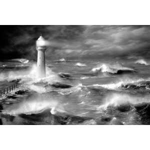 and White Sea Nature Photography Poster 24 x 36 inches