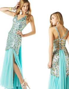 Aqua Blue Mac Duggal 2578M Prom Pageant Gown Dress 2