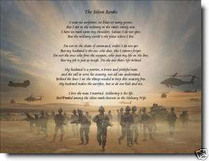 SILENT RANKS PERSONALIZED POEM MILITARY WIFES GIFT