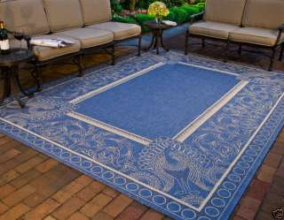 Abaco Indoor/Outdoor Blue/Natural Carpet Rug 9 x 12