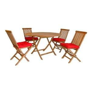 Teak Round Dining Folding Table & Folding Chairs Set (5 Pcs)   Outdoor