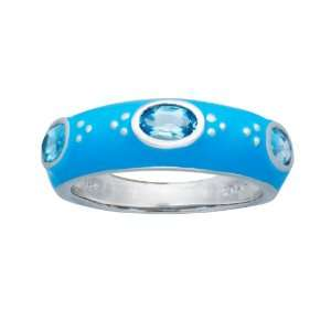 Sterling Silver Swiss Blue Topaz with Light Blue Enamel Womens Ring