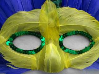 Fun Party PURPLE Yellow Green FEATHERS & Sequin Mardi Gras MASK