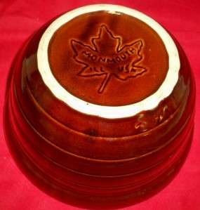 Monmouth Pottery Large Dark Brown Mixing Bowl Maple Leaf Mark 10 1/8