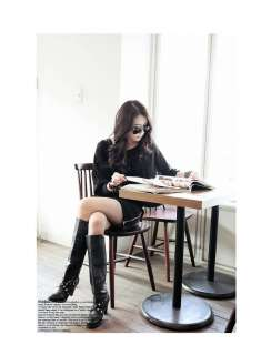 Women Black Korea Casual Loose Bat Sleeve Club Dress