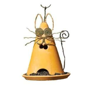 Ancient Graffiti Yellow Cat Ceramic Bird Feeder Patio
