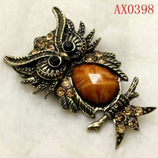Stylish Brown Crystal Antique Bronze Owl Brooch  AX0398