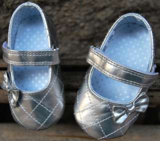 silver Mary Jane toddler baby girl shoes UK size 2 3 4