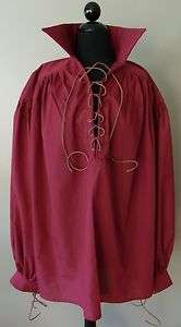 Mens Renaissance Medieval Rogue Pirate Poet Shirt Burgundy