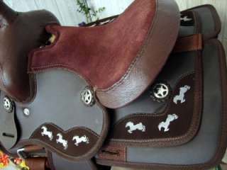 14 Brown Synthetic Western Trail Barrel Racer Saddle