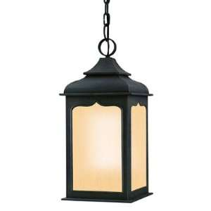 Large Hanging Lantern, Colonial Iron Finish with Amber Mist Glass