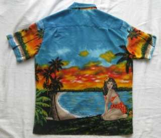 KENNINGTON LTD HULA GIRL CALIFORNIA SUNSET MENS HAWAIIAN SHIRT SIZE