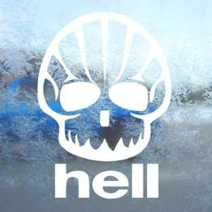 Shell Hell Shaped Face Funny Oil White Decal Car White