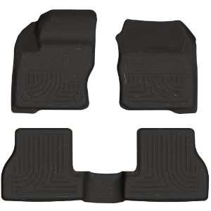 Molded Front and Second Seat Floor Liner Set for Ford Focus (Black