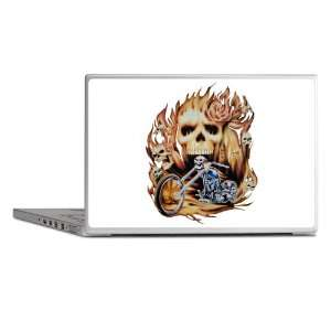 Laptop Notebook 15 Skin Cover Biker Skull Flames Rose and