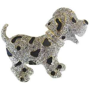 Black Spots and Rhinestones Brooch