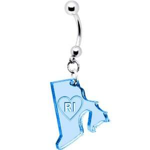 Light Blue State of Rhode Island Belly Ring Jewelry
