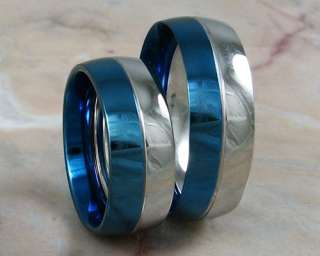 Matching His Her Blue Stainless Steel Bands Rings sz 5 13