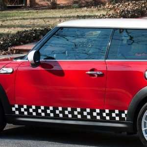 Mini Cooper Checkered Flag Side Stripes Decals Automotive