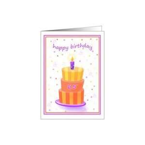 65 Years Old Happy Birthday Stacked Cake Lit Candle Card