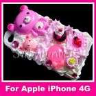 3D Bear Candy Cream Cake Bling Case cover iPhone 4G 4 A