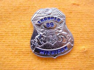 STATE POLICE TROOPER PROUD SILVER EAGLE MINI SHIRT LAPEL BADGE SHIELD
