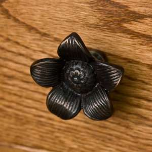 Solid Brass Starflower Cabinet Knob   Oil Rubbed Bronze