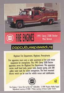 CHEVROLET 3500 BECKER MINI RESCUE FIRE TRUCK ENGINE CARD Olyphant, PA