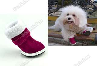 Cute Red Christmas Dog Doggie Shoes Santa Puppy Pet Apparel Cozy Boot