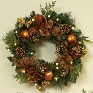 Battery Operated Wreath   24 Pre lit Gilded Battery Operated LED