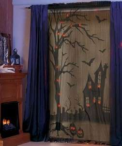 BATTERY OPERATED SPOOKY LIGHTED SCARY HALLOWEEN window panel CURTAIN