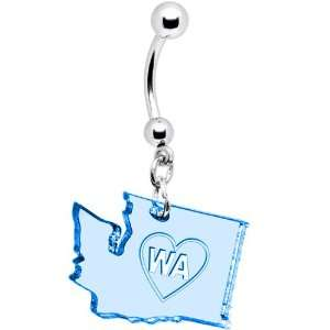 Light Blue State of Washington Belly Ring Jewelry
