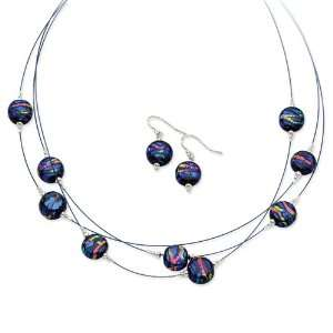 Silver Blue Dichroic Glass Earrings & 18in Necklace Set Jewelry