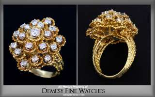 Amazing Vintage 18K Yellow Gold & Diamond Cluster Ring
