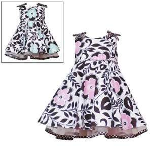 PINK BOW SHOULDER FLORAL PRINT Special Occasion Party Dress Baby