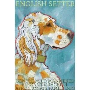 Colorful English Setter Dog Print from Original Oil by Ursula Dodge