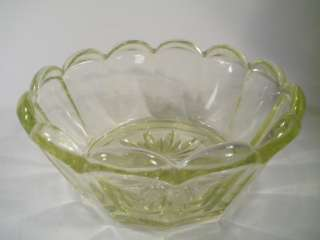 VINTAGE VASELINE URANIUM GLASS ART DECO FRUIT JAR BOWL