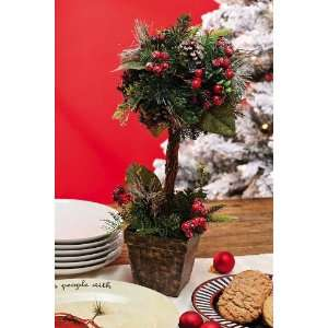 20 Red Berry, Pine Cone w/Ice Topiary