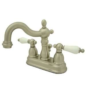 Heritage 4 Center Set Lavatory Faucet with Brass Pop Up, Satin Nickel