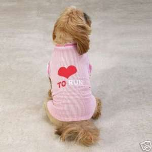 PINK  Love To Run Dog Jersey Tee Shirt SMALL Kitchen