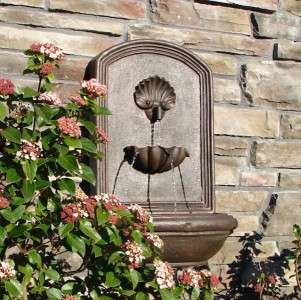 The Napoli Outdoor Garden Wall Water Fountain in Weathered Bronze