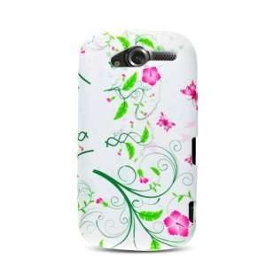 White with Green Pink Flower Soft Silicone Skin Gel Cover