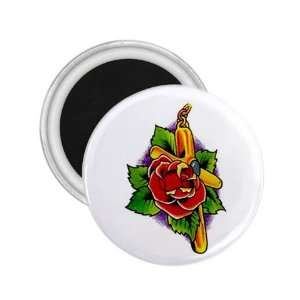 Tattoo Cross Flower Art Fridge Souvenir Magnet 2.25